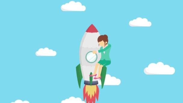 Šťastná obchodnice letící na raketě přes modrou oblohu. Zahájení podnikání, skok a podnikatelský koncept. Styl animace smyčky.
