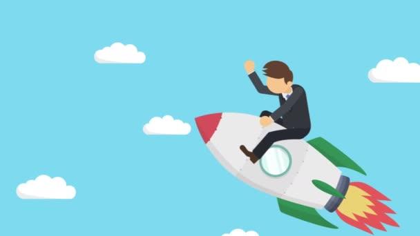 glücklicher Geschäftsmann, der mit einer Rakete durch den blauen Himmel fliegt. Existenzgründungs-, Sprung- und Unternehmerkonzept. Loop-Animation.