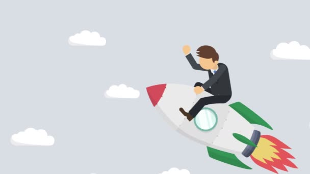 Happy businessman flying on rocket through abstract gray background. Business startup, leap, and entrepreneurship concept. Loop animation style.