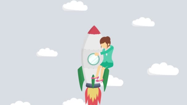 Happy businesswoman flying on rocket through abstract gray background. Business startup, leap, and entrepreneurship concept. Loop animation style.