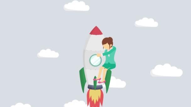Šťastná podnikatelka letící na raketě přes abstraktní šedé pozadí. Zahájení podnikání, skok a podnikatelský koncept. Styl animace smyčky.