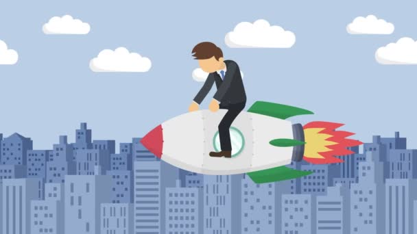 Happy businessman flying on rocket through the buildings. Business startup, leap, and entrepreneurship concept. Loop animation style.