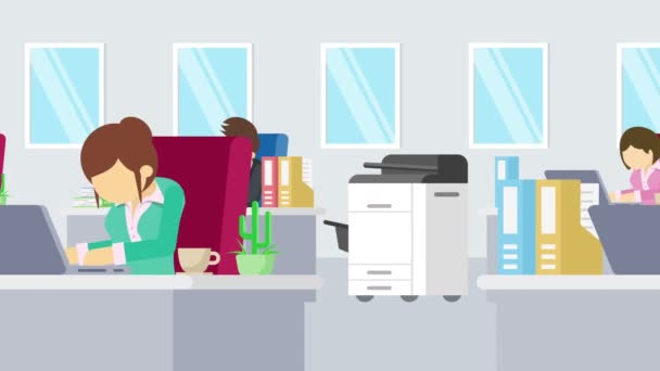 Business team is working. Business communication concept. Businessman in office. Flat Loop animation.