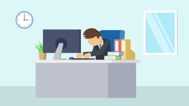Obchodník pracující v kanceláři. Unavená a spící. Animace karikatury pro obchodní koncept. Animace ploché smyčky.