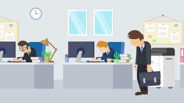 Obchodník přichází do kanceláře. Obchodní komunikační koncept. Obchodní tým pracuje. Animace ploché smyčky.