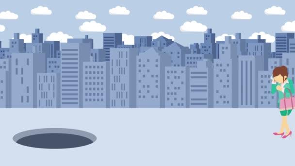 Geschäftsfrau zu Fuß. fallen in das Loch der Großstadt. Metropole. Gebäude. Gehen Sie in eine Falle. Geschäftskonzept. Schleifenanimation.