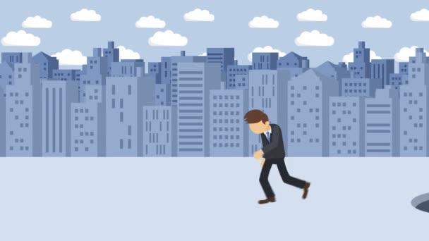 Geschäftsmann zu Fuß. Sprung über das Loch der Großstadt. Metropole. Gebäude. Gehen Sie in eine Falle. Geschäftskonzept. Schleifenanimation.