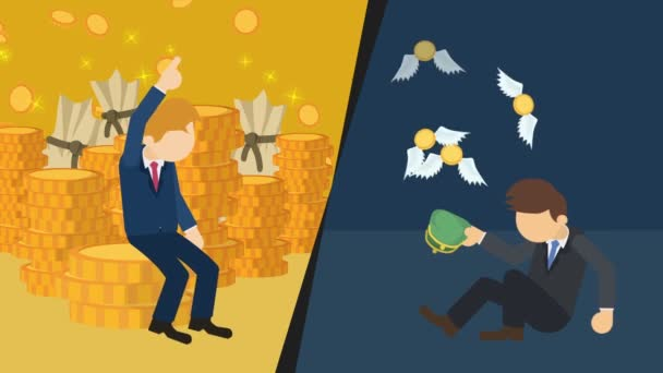 Rich versus poor. Social and economic inequity and the worldwide wealth gap. Businessman inequality concept. Business Loop animation.