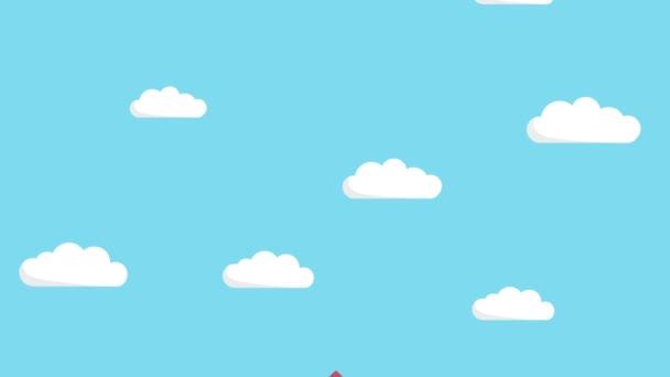 Šťastný obchodník letící na raketě modrým nebem. Zahájení podnikání, skok a podnikatelský koncept. Styl animace smyčky.