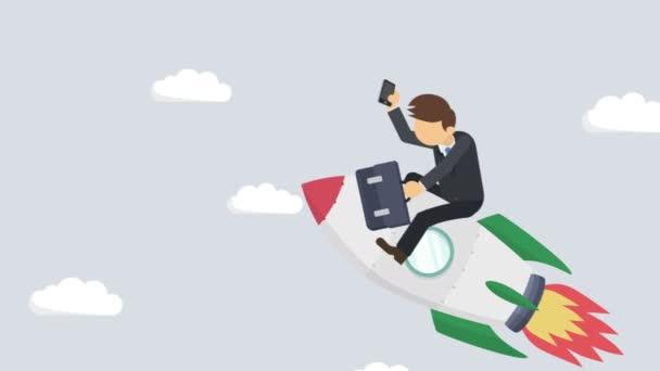 Šťastný obchodník letící na raketě přes abstraktní šedé pozadí. Zahájení podnikání, skok a podnikatelský koncept. Styl animace smyčky.