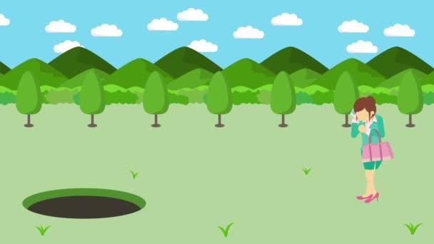 Obchodnice chodí. Spadni do díry na loukách s horami. Divoká tráva. Nechat se chytit do pasti. Obchodní koncept. Animace smyčky.