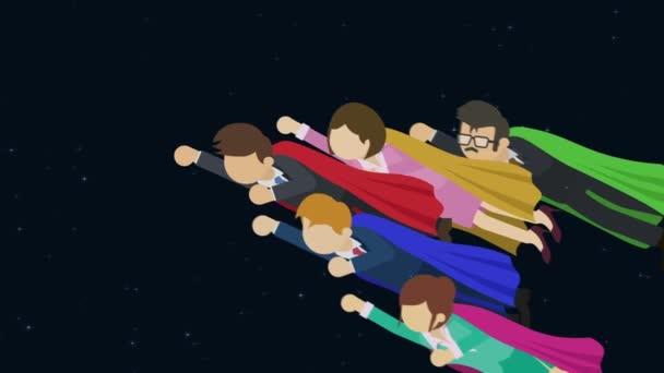 Szuperhős üzleti csapat, öltönyben és köpenyben. Üzleti vezetés és kommunikációs koncepció. Loop animáció lapos stílusban.
