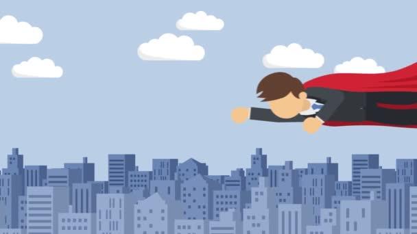 Szuperhős üzletember öltönyben és köpenyben. Üzleti vezetés és siker koncepció. Loop animáció lapos stílusban.