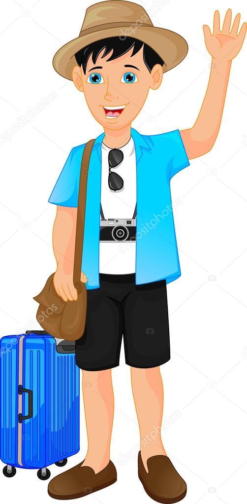 turista niño dibujos animados agitando — Vector de stock