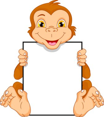 Cute monkey cartoon and blank sign