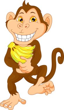 happy monkey cartoon with banana