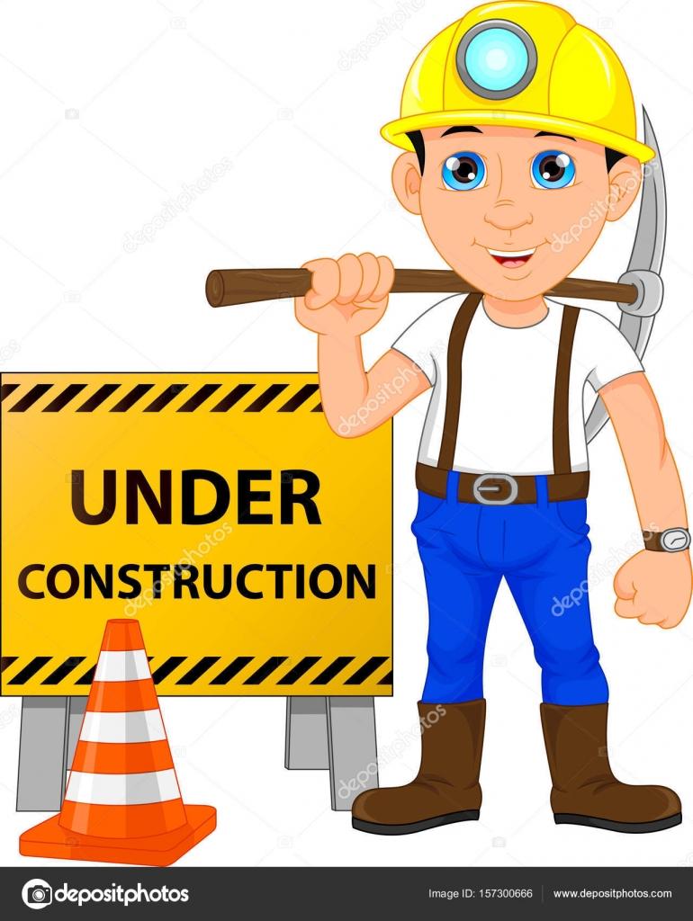 工事看板の下で若い建設労働者 ストックベクター Lawangdesign