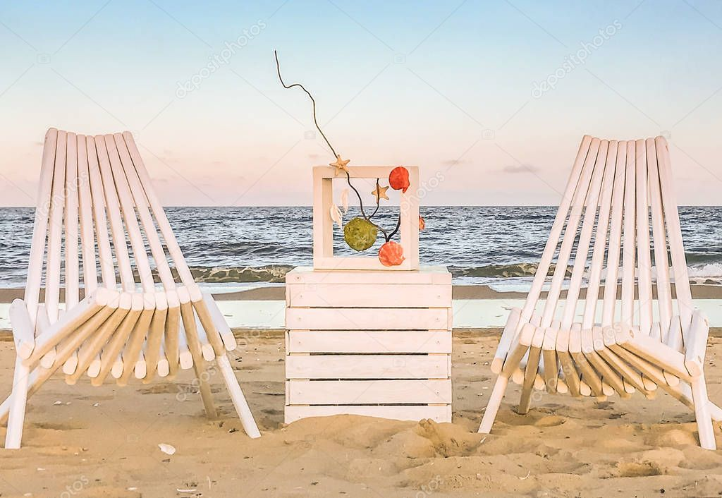 A place to relax on the sandy beach near Odessa, Ukraine.