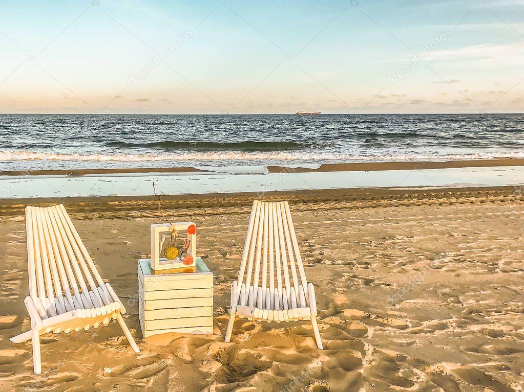 A place to relax on the sandy beach near Odessa, Ukraine.