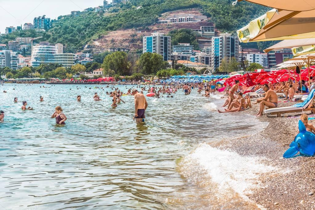 Budva, Montenegro - August 19, 2017: Fragment of the modern beach town of Budva, Montenegro, Europe. Budva is one of the best and most popular resorts of the Adriatic Riviera.