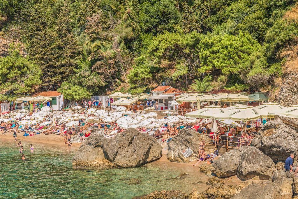 Fragment of Mogren beach in Budva, Montenegro is one of the most popular beaches on the Budva Riviera.