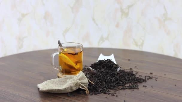 Cozy tea set served on table