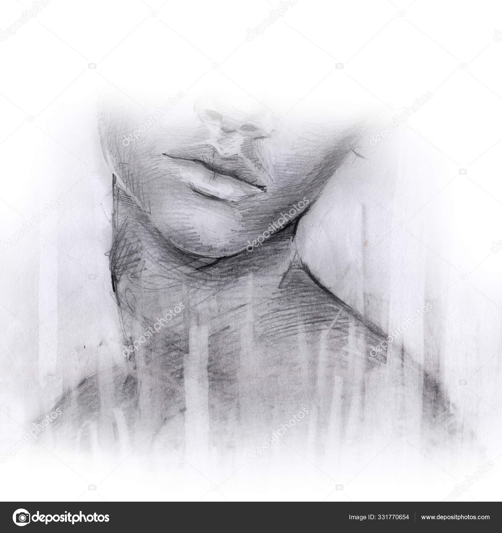 Lips Girl Nose Face Sketch Drawing Pencil Strokes Stock Photo C Nadinart 331770654