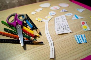 Colour pencils. Applications. Children's handwork. Kindergarten. Stationery.