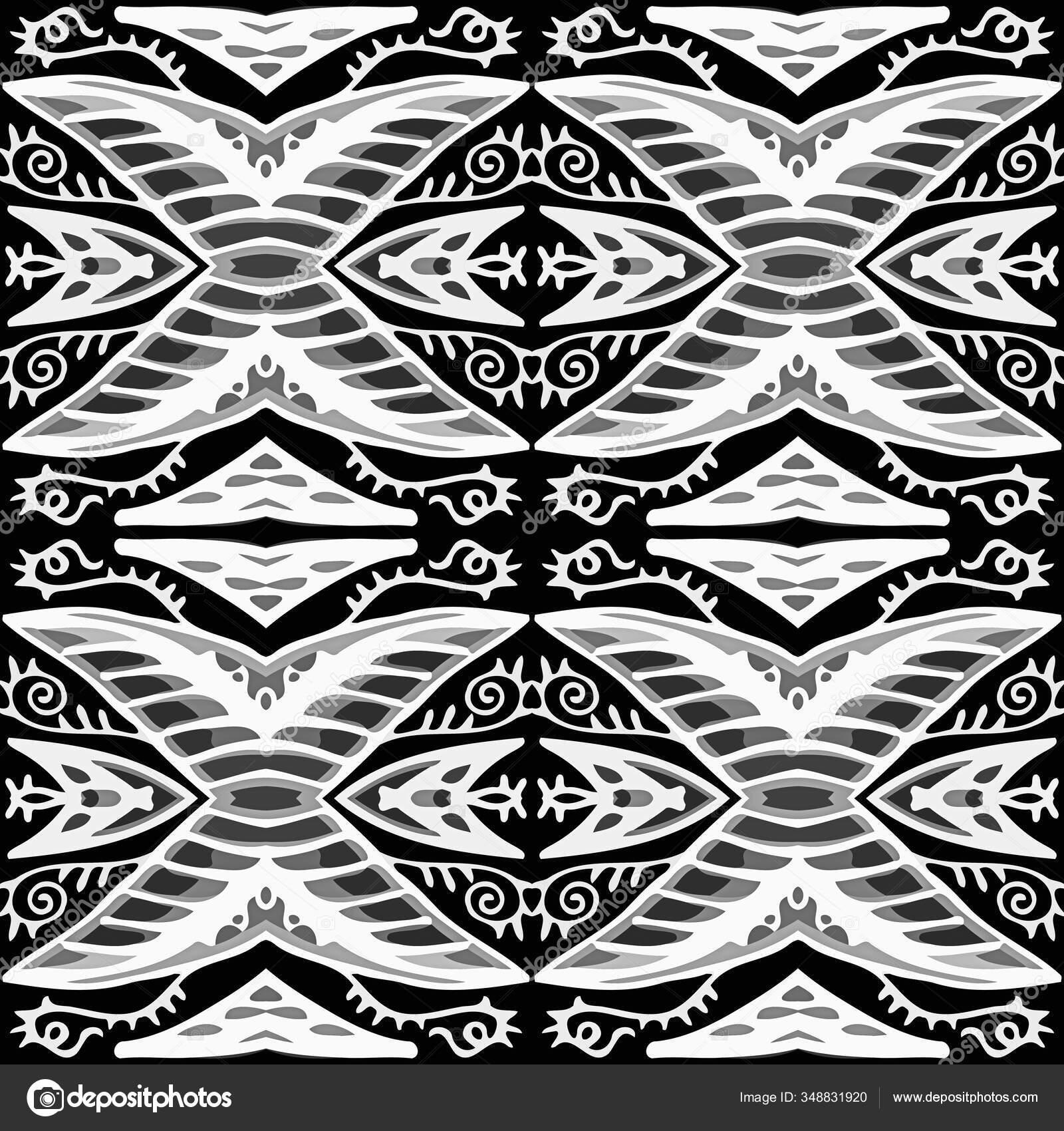 Doux Design Autochtone Arabesque Carrelage Tunisien Lumière Noir Blanc Couleur — Photographie ...