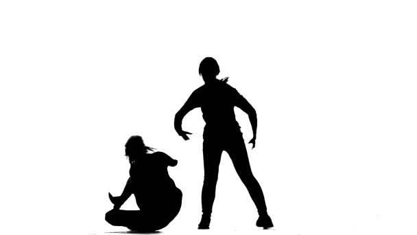 black silhouette on a white background, girls duet dance hip hop, street dance, isolated