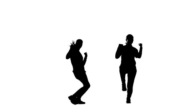 fekete sziluett fehér háttér, lányok duett dance hip hop, street dance, elszigetelt