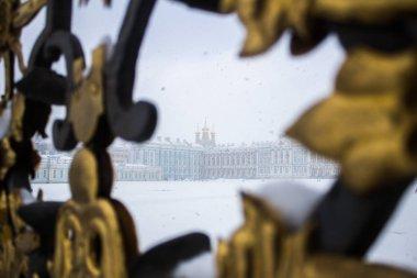 Catherine Palace görünümü ile altın kapı.