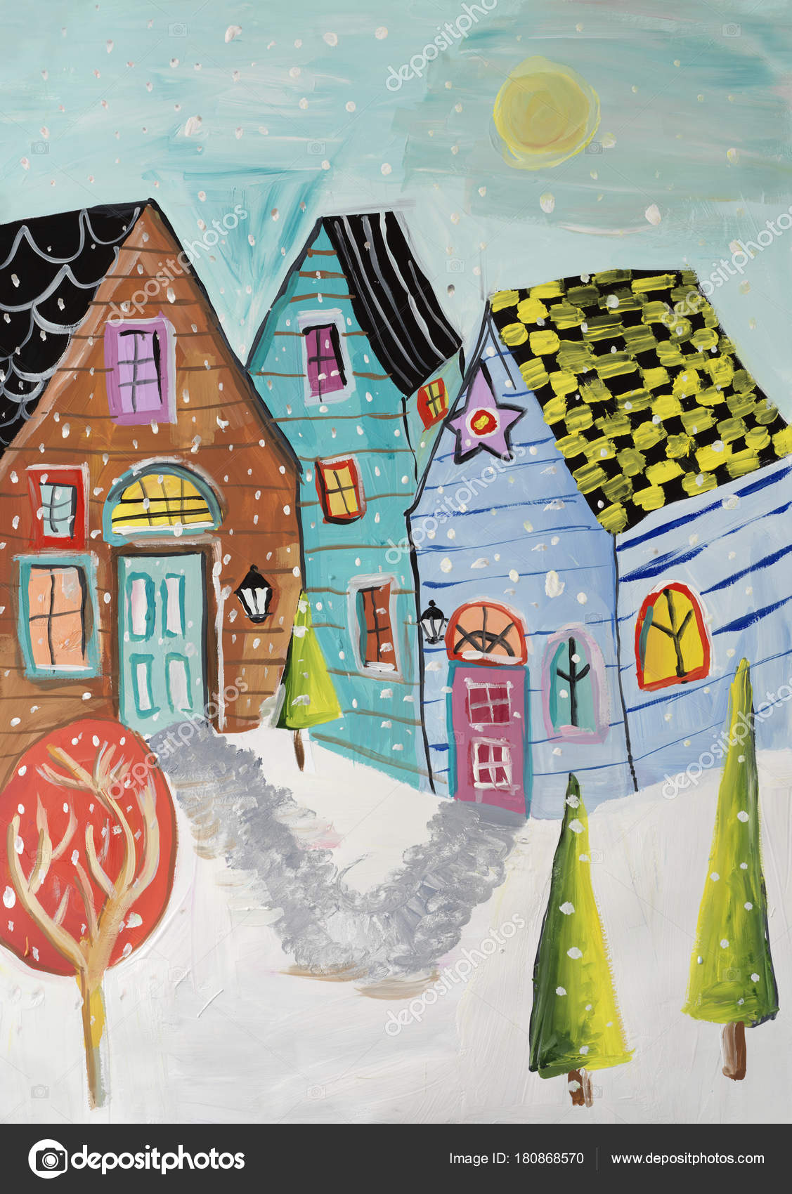 Gouache Painting Winter Town Stock Photo C Doublev 180868570