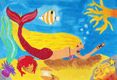 Childs painting on paper of Underwaters life