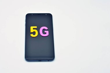 Mobile phone with a five and a g, on white background, 5G