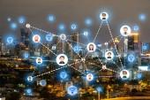 Lidé ikony sítě a komunikační koncept. Dvojitá expozice