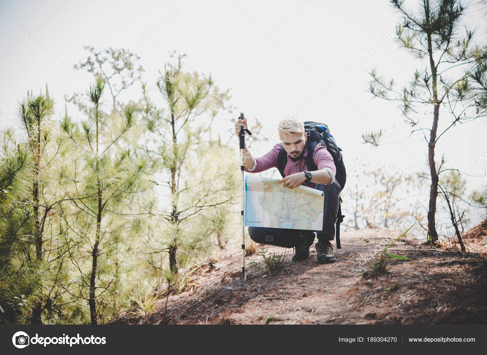 d632ff5f71b6 Hiker Map Big Traveling Backpack Traveling Mountain — Stock Photo ...
