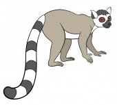 Cartoon animals for kids. Little cute lemur smiles.
