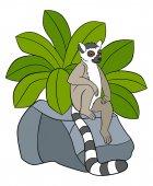 Fotografie Cartoon animals for kids. Little cute lemur on the stone.