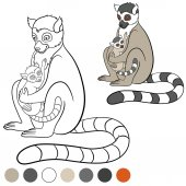 Color me: lemur. Mother lemur with her cute baby.