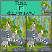Fotografie Educational game: Find differences. Three little cute lemurs.