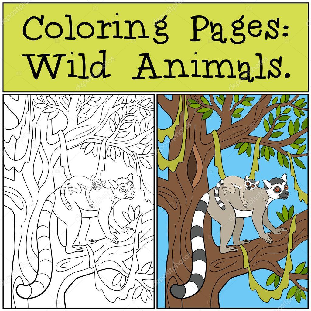 Malvorlagen: Wilde Tiere. Mutter Lemur mit ihrem baby — Stockvektor ...