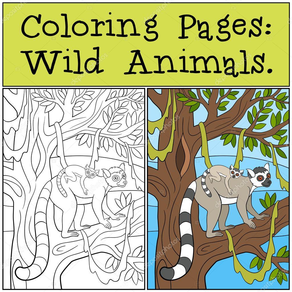 Dibujos para colorear: Animales salvajes. Mamá lémur con su bebé ...