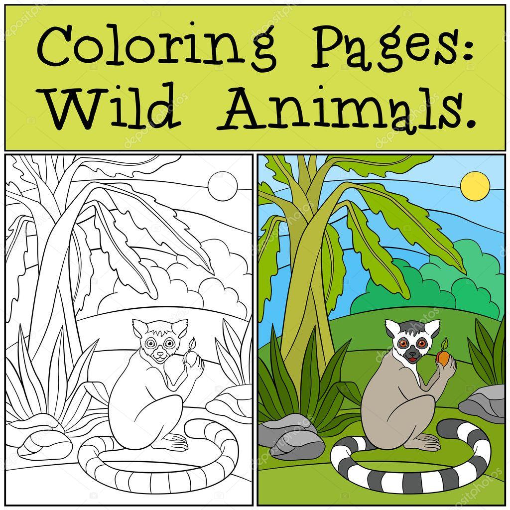 Boyama Sayfaları Vahşi Hayvanlar Küçük şirin Lemur Meyve Ile