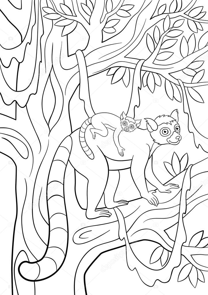 Dibujos para colorear. Mamá lémur con su pequeño bebé lindo — Vector ...