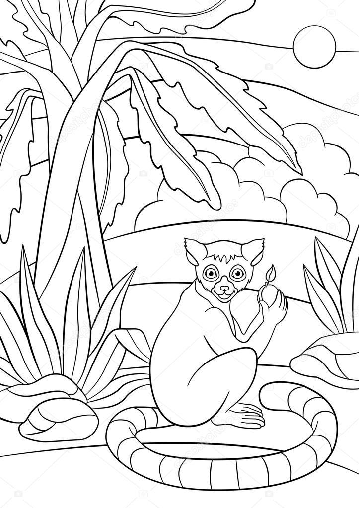 Dibujos para colorear. Lemur pequeño lindo con fruta — Archivo ...