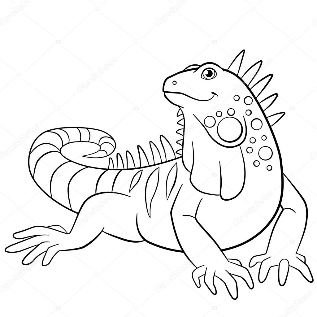 Coloring Pages Cute Iguana Smiles Stock Vector C Ya