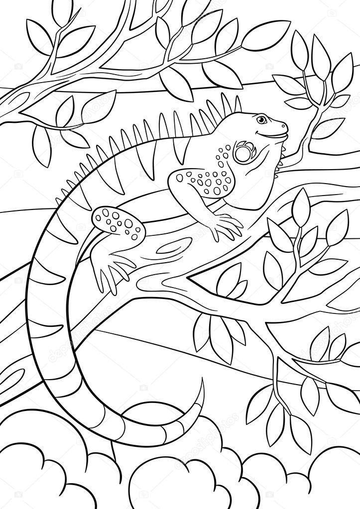 Imágenes: arbol para colorear | Dibujos para colorear. Linda iguana ...