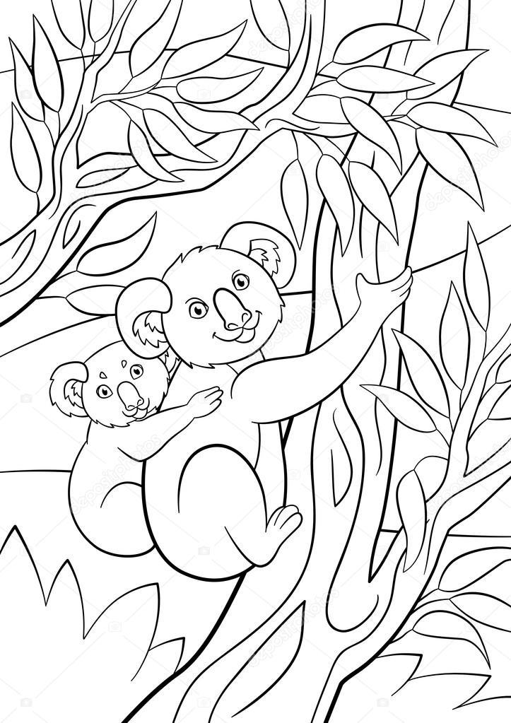 malvorlagen koalamutter mit ihrem kleinen süßen baby