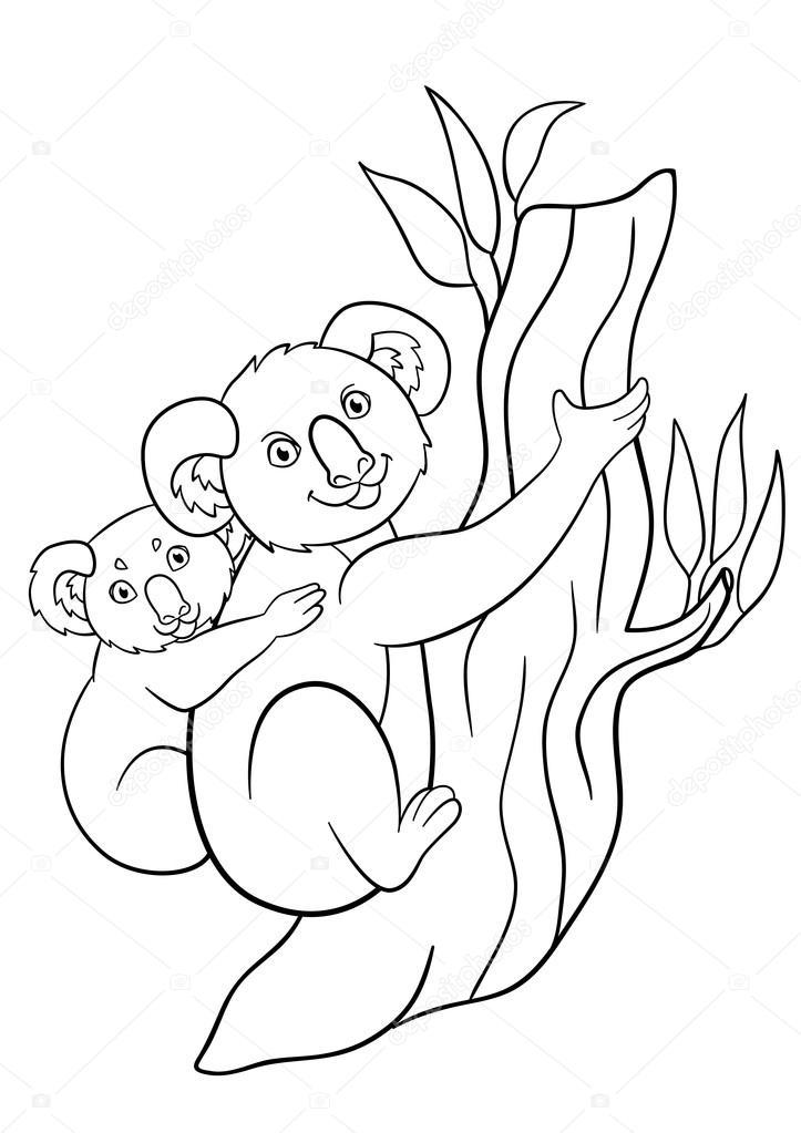Boyama Sayfaları Onun Küçük şirin Bebek Ile Anne Koala Stok